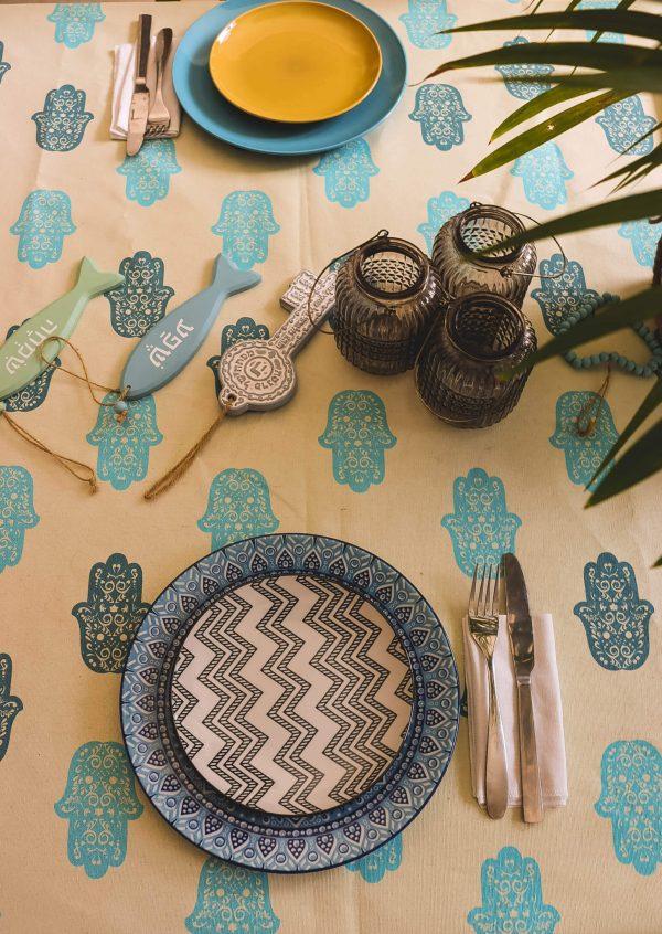 מפת שולחן - חמסה כחולה
