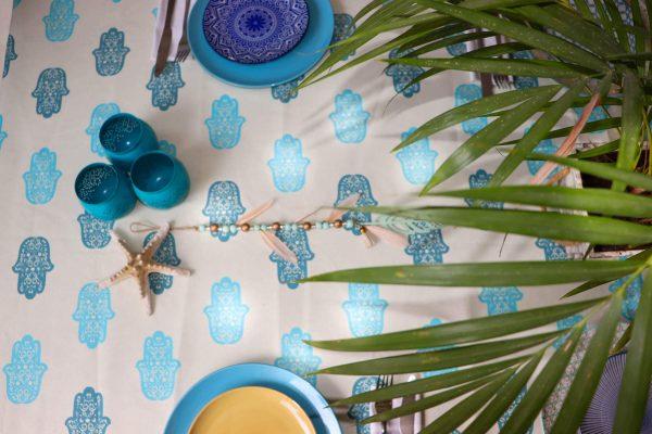 מפת שולחן חמסה כחולה